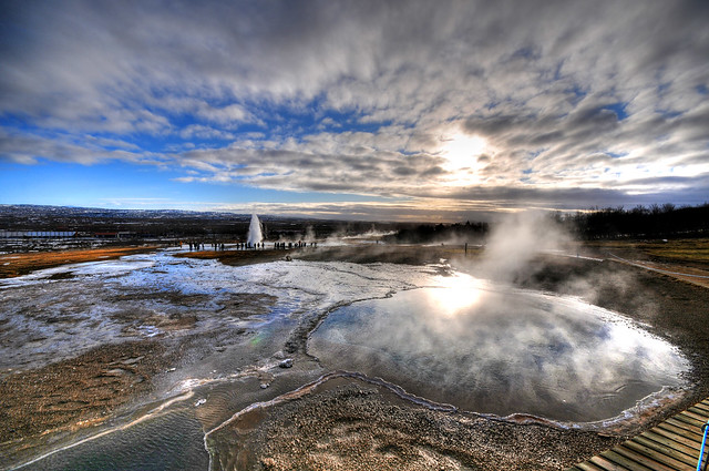Blesi Hot Spring (and Strokkur Geyser) - Iceland
