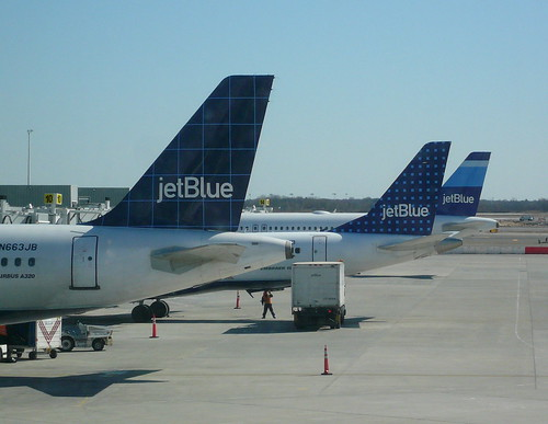 Three Airplane Tail Sections JetBlue T5 Terminal