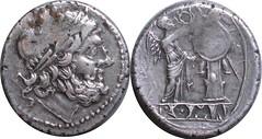 96/1 #0707-32 Anonymous incuse Spain Scipio Africanus Jupiter Victory trophy Victoriatus