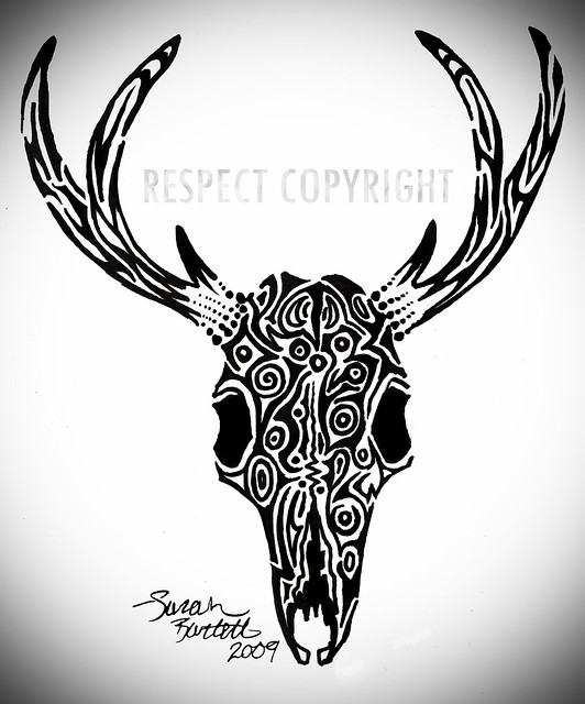 Tribal Deer Skull Tattoo