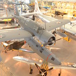 Steven F. Udvar-Hazy Center: South hangar panorama, including Vought OS2U-3 Kingfisher seaplane & B-29 Enola Gay, among others