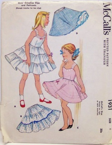 Vintage McCalls Pattern 1931 Crinoline Slips and Petticoat 50's Size 6, Breast 24, Waist 22