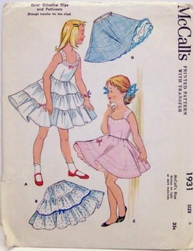 Vintage McCalls Pattern 1931 Crinoline Slips and Petticoat 50's Size 6, Breast 24, Waist 22