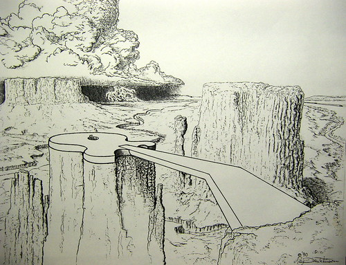 bridge pen ink sketch desert guitar drawing badlands mesas ballpoint penink