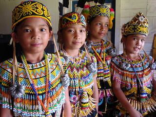 Young Dayak Kenyah girls