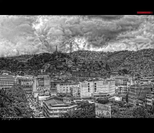 trees houses sky blackandwhite bw house cars nature monochrome clouds buildings philippines lars environment baguio hdr crowded baguiocity buildingsoverthemountain