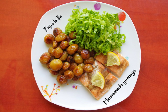Somon la cuptor, cartofi cu rozmarin si salata (1)