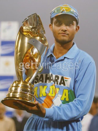 Sourav Ganuly alofts the trophy after beating winning the ODI series against Paksitan for the first time-Paksitan vs India 5th ODI Lahore 2004