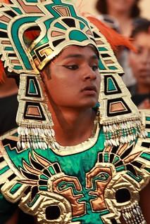 Aztec warrior in the Mazatlan Carnival parade