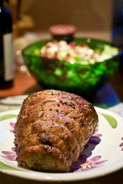 Il Sig. Rost-beef al vino rosso dopo il passaggio in forno...