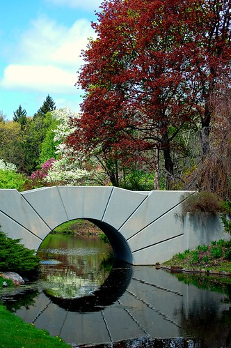 bridge flowers sunrise spring michigan midland dowgardens