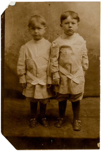 Two boys in smocks