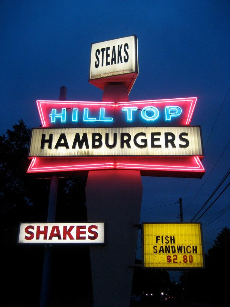 Hill Top Hamburgers Sign