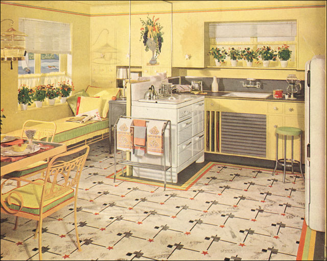 1941 yellow green armstrong kitchen