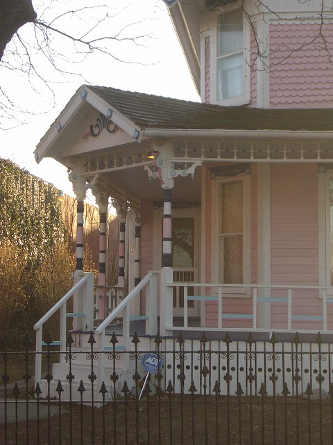 Charles W Nash House front porch, c 1890, Carriage Town, Downtown Flint Michigan