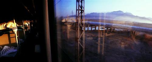 china morning panorama blur mountains film window train sunrise asia fuji superia horizon panoramic journey horizon202 202 sleeper overnight liaoning dongbei gncn2009