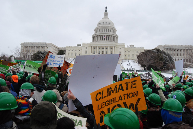 Climate protest in front of Capitol building.
