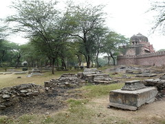 Graves outside Isa Khan's tomb complex