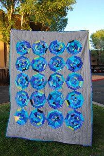 Blurple Spiderweb quilt