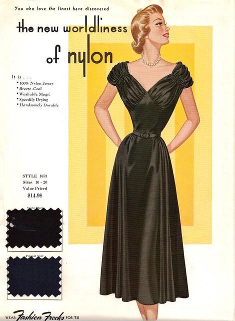 "Fashion Frocks ""The New Worldliness of Nylon"" 1950"