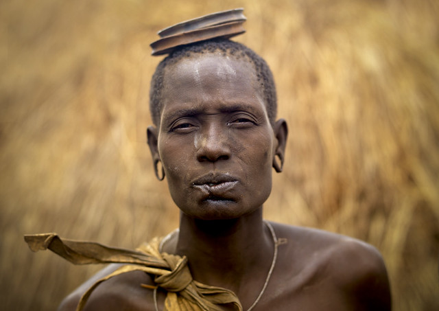 Mursi woman with lip cut Omo Ethiopia