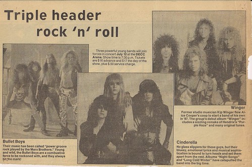 07/12/89 Cinderella/Winger/BulletBoys @ Duluth, MN (Nwspaper Article)