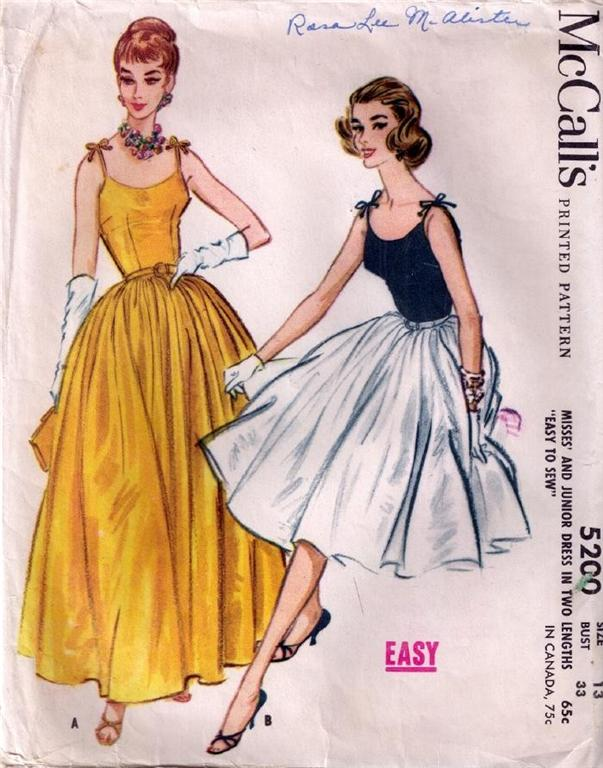 Vintage sewing pattern: 1950s full skirt party dress - a photo on ...