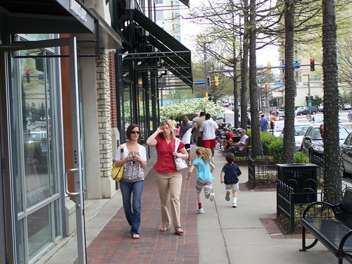 People on the sidewalk, Bethesda Row
