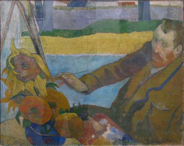 Portret van Van Gogh, zonnebloemen schilderend