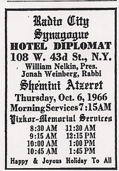 10/06/66 Radio City Synagogue Jewish Worship Services @ Hotel Diplomat