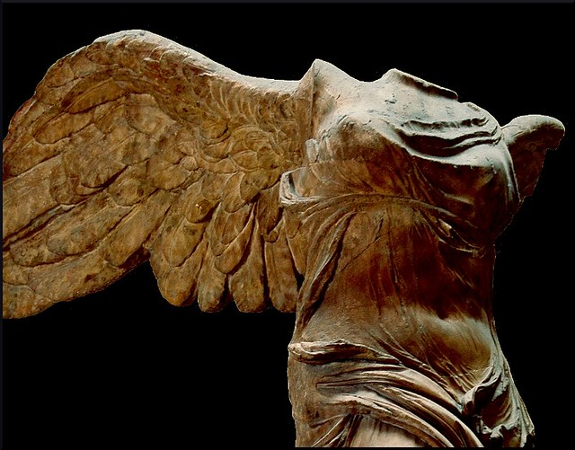 winged victory the nike of samothrace A peerless masterpiece of greek sculpture, the winged victory of samothrace standing on the prow of a ship overlooked the sanctuary of the great gods on the island of samothrace this monument was probably a votive offering dedicated by the people of rhodes in commemoration of a naval victory.