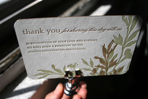 Wedding Gift Charity Donation Etiquette : Wedding favor card - Amazon Conservation Association donat? Flickr ...