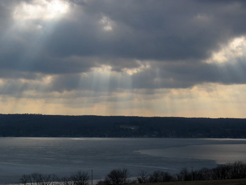 sunset lake clouds sunbeams chautauqua