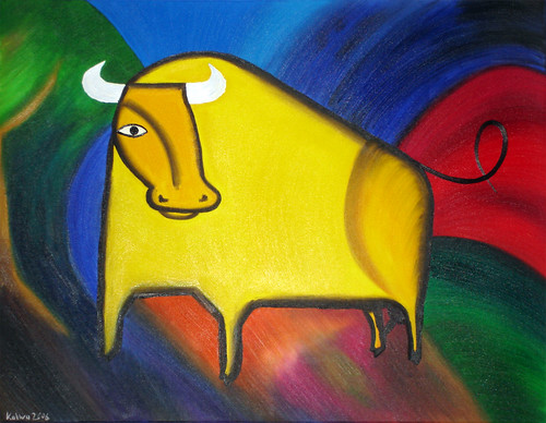 KALWA - Bulle gelb VI - Oil on Canvas - 2006