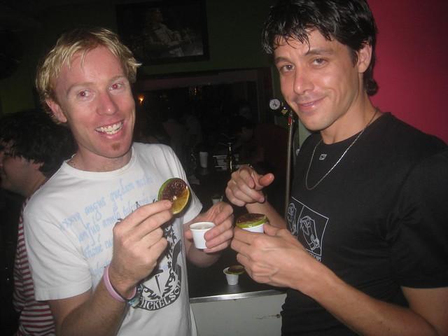 Clint (left) and Jamie (right) enjoy shots at La Octava