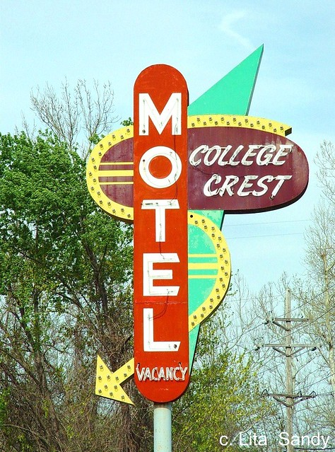 Old Neon College Crest Motel Sign - Alton, Illinois