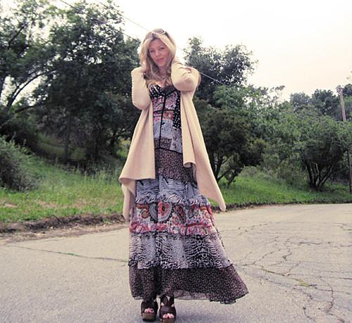miu miu sandal clogs+ 70s dress -hills
