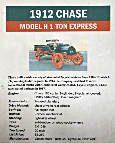 1912 Chase Model H 1 ton Quick Info