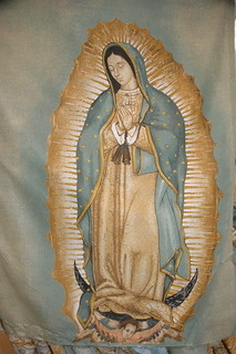 Fabric imprinted with Our Lady of Guadalupe, Fabric store, Guadalajara, Jalisco, Mexico