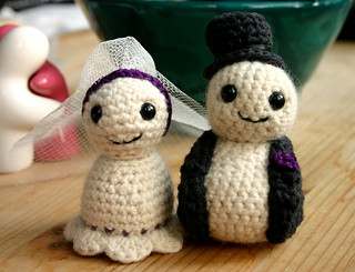 tiny crocheted bride and groom