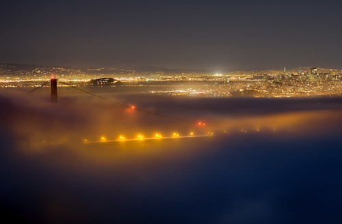 Golden Gate Bridge night fog