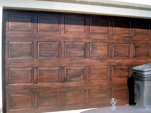 Faux wood garage door flickr photo sharing for Fake wood garage doors
