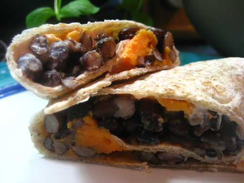Black Bean and Chipotle Goat Cheese Burritos
