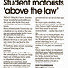 "Small photo of Student motorists ""above the law"""