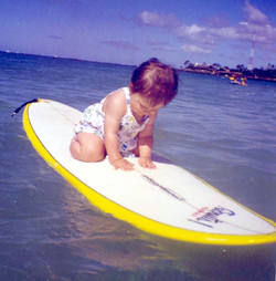 Daughter on Surfboard