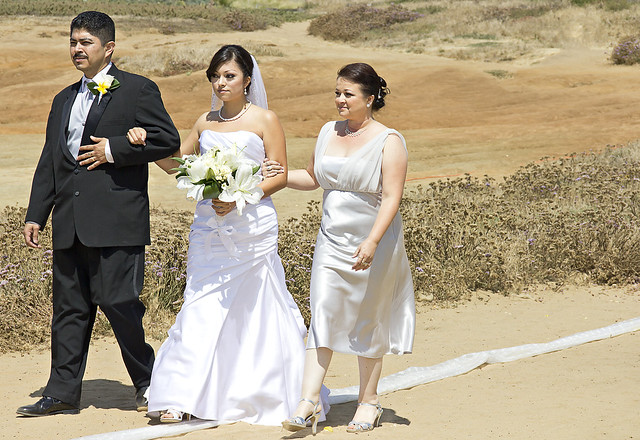 Walking Down the Outdoor Wedding Aisle Even though it was really windy