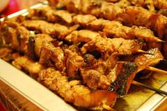 fried food(0.0), vegetarian food(0.0), meal(1.0), meat(1.0), food(1.0), dish(1.0), yakitori(1.0), cuisine(1.0), skewer(1.0), satay(1.0), grilled food(1.0),