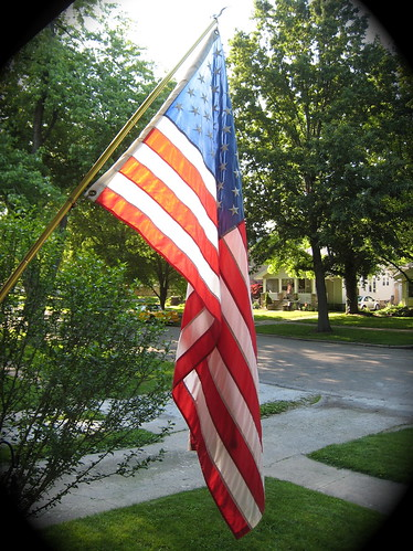 flag at evening