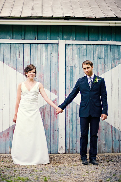 Marriage. Smiles. Barn Doors.