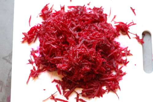 Pile of Grated Beets by Eve Fox, Garden of Eating blog, copyright 2011